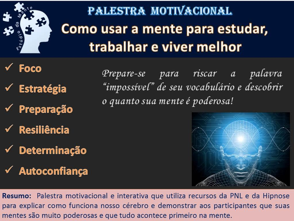 Palestras Motivacionais E Comportamentais Estúdio Da Mente